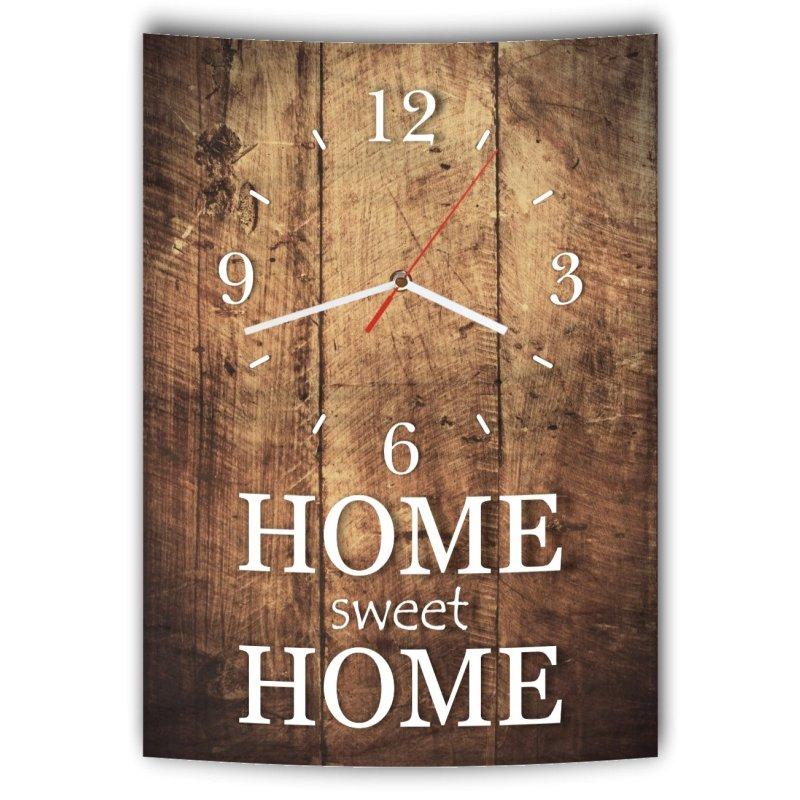 lautlose designer wanduhr mit spruch home sweet home holz holzoptik m. Black Bedroom Furniture Sets. Home Design Ideas