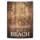 LAUTLOSE Designer Wanduhr mit Spruch Life is good at the Beach Holz Holzoptik modern Deko schild Abstrakt Bild 41 x 28cm