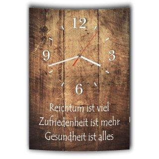 LAUTLOSE Designer Wanduhr mit Spruch Reichtum ist viel Zufriedenheit ist mehr Gesundheit ist alles Holz Holzoptik modern Deko schild Abstrakt Bild 41 x 28cm