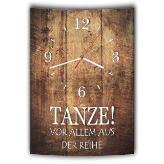 LAUTLOSE Designer Wanduhr mit Spruch Tanze vor allem aus der Reihe Holz Holzoptik modern Deko schild Abstrakt Bild 41 x 28cm