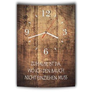 LAUTLOSE Designer Wanduhr mit Spruch Zuhause ist da wo ich den Bauch nicht einziehen muss Holz Holzoptik modern Deko schild Abstrakt Bild 41 x 28cm