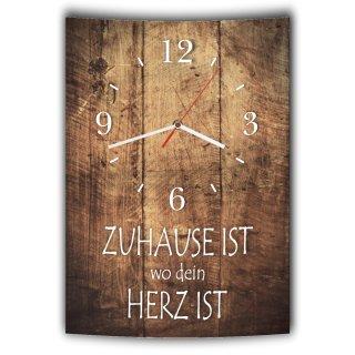 LAUTLOSE Designer Wanduhr mit Spruch Zuhause ist wo dein Herz ist Holz Holzoptik modern Deko schild Abstrakt Bild 41 x 28cm
