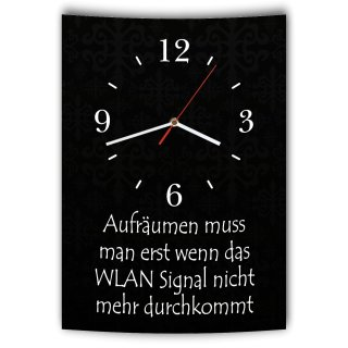 LAUTLOSE Designer Wanduhr mit Spruch Aufräumen muss man erst wenn das Wlan Signal nicht mehr durchkommt schwarz weiß modern Deko Schild Abstrakt Bild 41 x 28cm