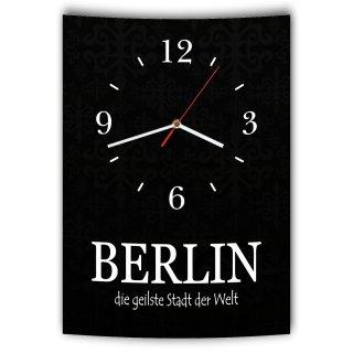 LAUTLOSE Designer Wanduhr mit Spruch Berlin die geilste Stadt der Welt schwarz weiß modern Deko Schild Abstrakt Bild 41 x 28cm