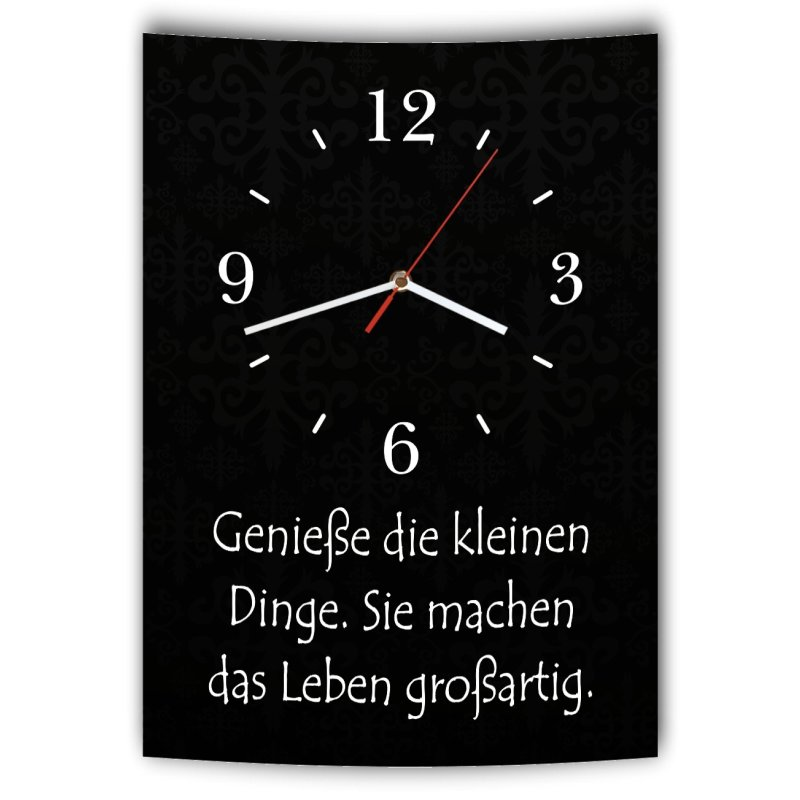 lautlose designer wanduhr mit spruch genie e die kleinen dinge sie ma. Black Bedroom Furniture Sets. Home Design Ideas