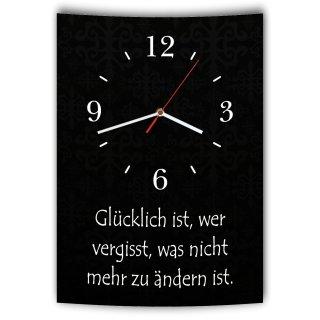 LAUTLOSE Designer Wanduhr mit Spruch Glücklich ist wer vergisst was nicht zu ändern ist schwarz weiß modern Deko Schild Abstrakt Bild 41 x 28cm