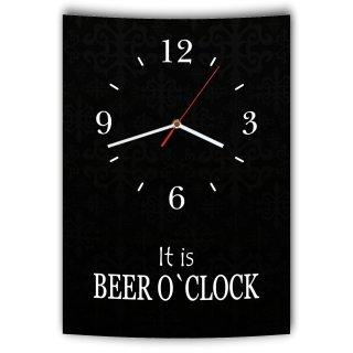 LAUTLOSE Designer Wanduhr mit Spruch It is Beer o´clock schwarz weiß modern Deko Schild Abstrakt Bild 41 x 28cm