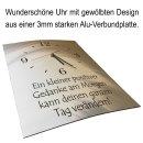 LAUTLOSE Designer Wanduhr mit Spruch Lächle und der Tag gehört dir schwarz weiß modern Deko Schild Abstrakt Bild 41 x 28cm