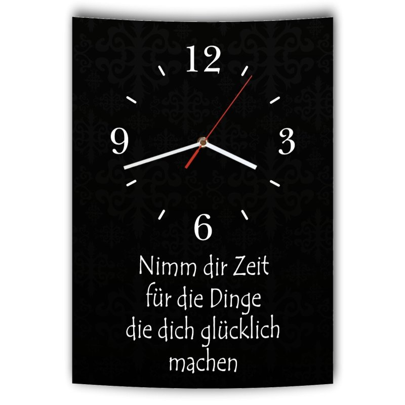 lautlose designer wanduhr mit spruch nimm dir zeit f r die dinge die. Black Bedroom Furniture Sets. Home Design Ideas