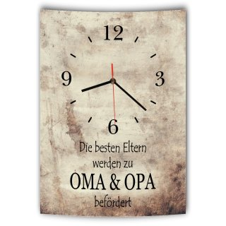 LAUTLOSE Designer Wanduhr mit Spruch Die besten Eltern werden zu Oma und Opa befördert Vintage beige Deko Schild Bild 41 x 28cm