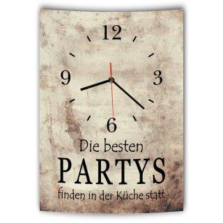 LAUTLOSE Designer Wanduhr mit Spruch Die besten Partys finden in der Küche statt Vintage beige Deko Schild Bild 41 x 28cm