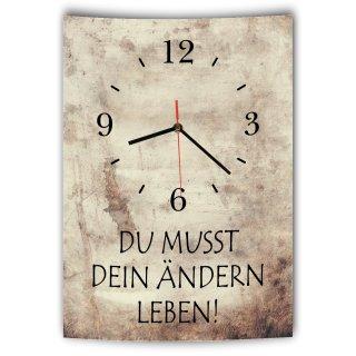 LAUTLOSE Designer Wanduhr mit Spruch Du musst dein ändern leben Vintage beige Deko Schild Bild 41 x 28cm