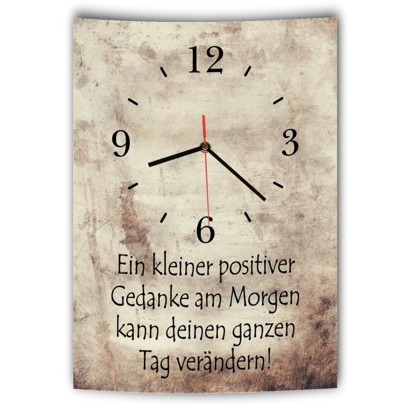 lautlose designer wanduhr mit spruch ein kleiner positiver gedanke am. Black Bedroom Furniture Sets. Home Design Ideas