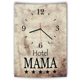 LAUTLOSE Designer Wanduhr mit Spruch Hotel Mama Vintage beige Deko Schild Bild 41 x 28cm