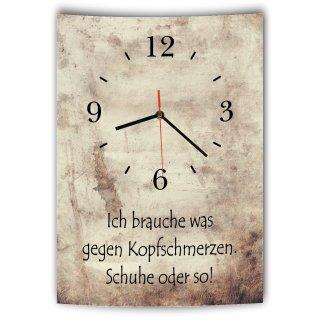 LAUTLOSE Designer Wanduhr mit Spruch Ich brauche was gegen Kopfschmerzen Schuhe oder so Vintage beige Deko Schild Bild 41 x 28cm