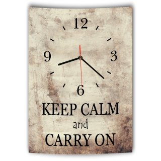 LAUTLOSE Designer Wanduhr mit Spruch Keep calm and carry on Vintage beige Deko Schild Bild 41 x 28cm