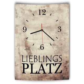 LAUTLOSE Designer Wanduhr mit Spruch Lieblingsplatz Vintage beige Deko Schild Bild 41 x 28cm
