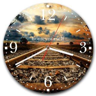 LAUTLOSE runde Wanduhr Bahn Zugstrecke Zug Sonnenuntergang braun aus Metall Alu-Verbund lautlos Uhrwerk rund modern Dekoschild Bild 30 x 30cm