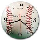 LAUTLOSE runde Wanduhr Baseball weiß aus Metall...