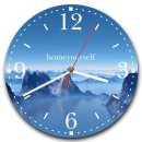 LAUTLOSE runde Wanduhr Blau Berge See Bergsee aus Metall...