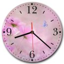 LAUTLOSE runde Wanduhr Blumen Schmetterling rosa lila...