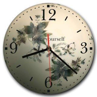LAUTLOSE runde Wanduhr Blumen weiß Abstrakt aus Metall Alu-Verbund lautlos Uhrwerk rund modern Dekoschild Bild 30 x 30cm