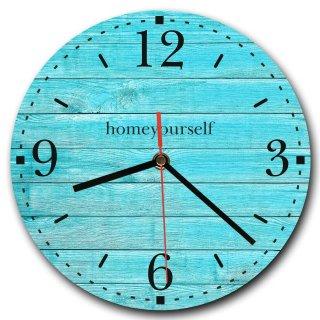 LAUTLOSE runde Wanduhr Holz Bretter Petrol türkis aus Metall Alu-Verbund lautlos Uhrwerk rund modern Dekoschild Bild 30 x 30cm
