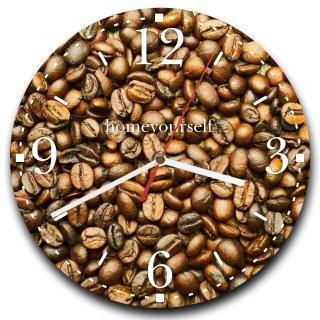 LAUTLOSE runde Wanduhr Kaffee Kaffeebohnen braun aus Metall Alu-Verbund lautlos Uhrwerk rund modern Dekoschild Bild 30 x 30cm