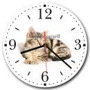 LAUTLOSE runde Wanduhr Katze weiß aus Metall...