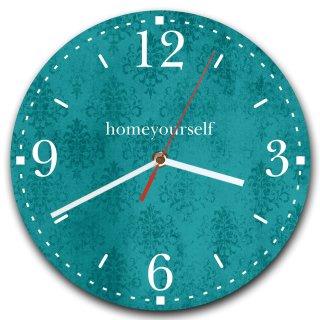 LAUTLOSE runde Wanduhr Petrol türkis Muster vintage aus Metall Alu-Verbund lautlos Uhrwerk rund modern Dekoschild Bild 30 x 30cm