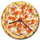 LAUTLOSE runde Wanduhr Pizza aus Metall Alu-Verbund...