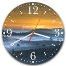 LAUTLOSE runde Wanduhr Sonnenuntergang Berge orange blau...