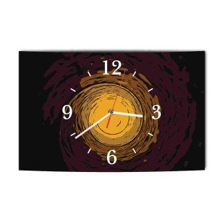 LAUTLOSE Designer Wanduhr Abstrakt Retro braun beigemodern Dekoschild Abstrakt Bild 39 x 25 cm
