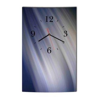 LAUTLOSE Designer Wanduhr Muster modern blau grau Uhr hochkant rechteckig  Bild Dekoschild Bild 25 x 39 cm