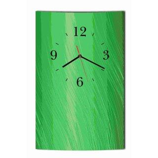 LAUTLOSE Designer Wanduhr Wellen modern grün   Uhr hochkant rechteckig  Bild Dekoschild Bild 25 x 39 cm