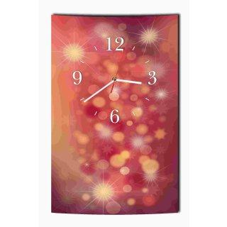 LAUTLOSE Designer Wanduhr Licht modern rot lila Uhr hochkant rechteckig  Bild Dekoschild Bild 25 x 39 cm