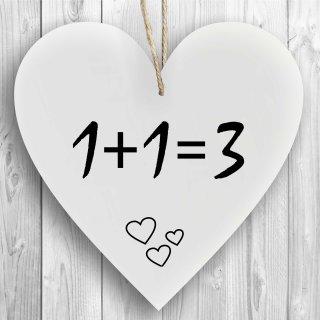 Herzschild Holzherz Holzschild 16 x 16 cm 1+1=3 weiß Dekoschild Wandschild Schild Holz Geburt Baby Kinder Liebe Ehe