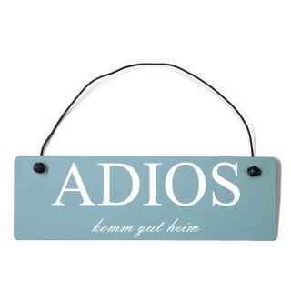 Adios Dekoschild Türschild gelb mit Draht