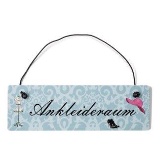 Ankleideraum Dekoschild Türschild blau mit Draht