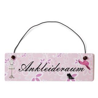 Ankleideraum Dekoschild Türschild rosa mit Draht