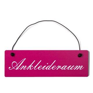 Ankleideraum Dekoschild Türschild pink mit Draht