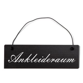 Ankleideraum Dekoschild Türschild schwarz mit Draht
