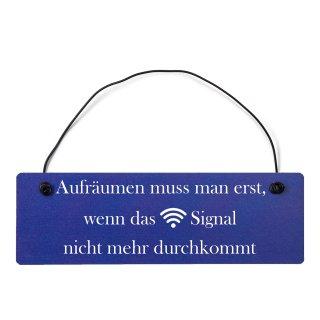 Aufräumen WLAN Dekoschild Türschild hellblau mit Draht