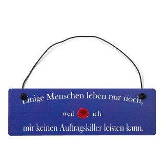 Auftragskiller Dekoschild Türschild hellblau mit Draht