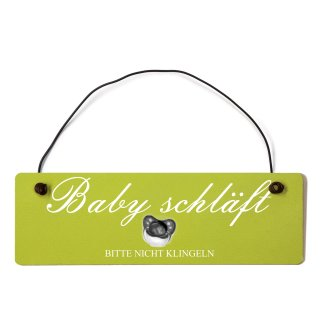 Baby schläft Dekoschild Türschild grün mit Draht