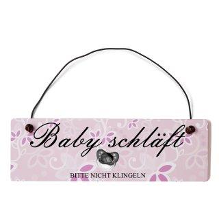 Baby schläft Dekoschild Türschild rosa mit Draht