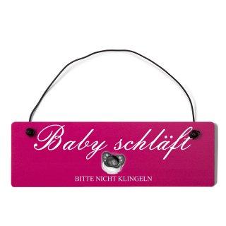 Baby schläft Dekoschild Türschild pink mit Draht