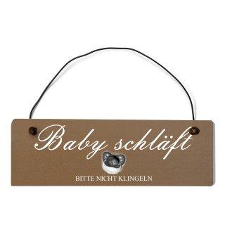 Baby schläft Dekoschild Türschild braun mit Draht