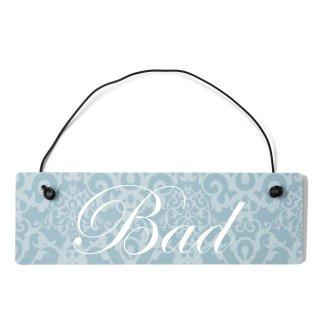 Bad Dekoschild Türschild blau mit Draht