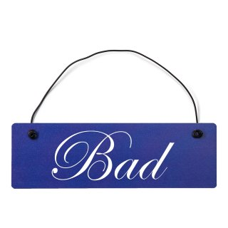 Bad Dekoschild Türschild hellblau mit Draht